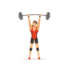 Professional athlete holding barbell above his vector