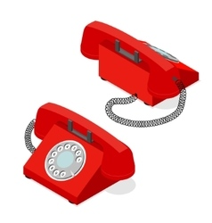 Red old phone set isometric view vector