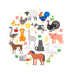 Round composition of farm animals icons vector