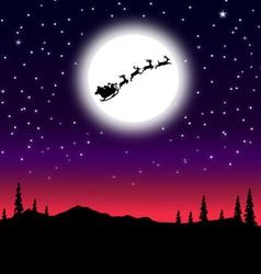 Santa sleigh on Christmas Night vector image
