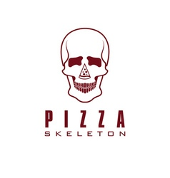 skull with slice of pizza vector image vector image