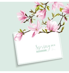 Spring blossom background with card for your text vector