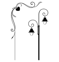 Street lamp and romantic frame vector