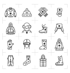 Trendy winter clothes isolated line icons set vector