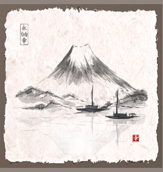 Two fishing boats and fujiyama mountain vector