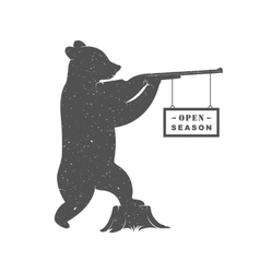 Vintage of bear with gun vector