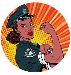 We can do it black police woman african american vector