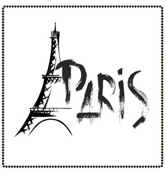 word paris eiffel tower hand drawn vector image vector image