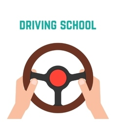 Hand holding steering wheel vector