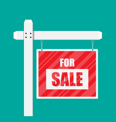 For sale wooden placard real estate sign vector