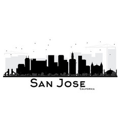 San jose california city skyline black and white vector