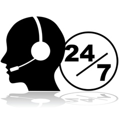 Support 24 hours a day and seven days a week vector