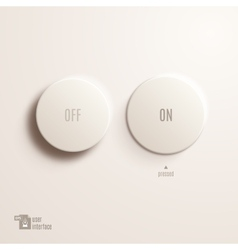 On  off plastic button user interface vector