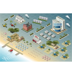Detailed of isometric seaside buildings vector