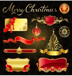 Christmas golden design elements and magnificent vector image