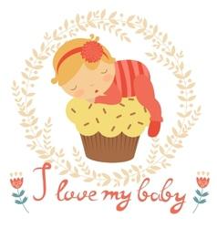 Cute baby card vector image