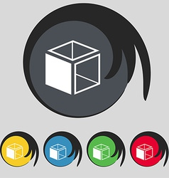 3d cube icon sign symbol on five colored buttons vector