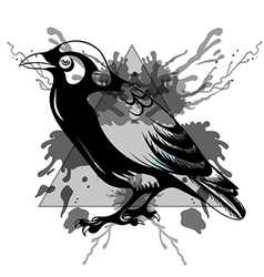Sketch black raven in triangle frame with vector