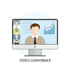 Icon video conference vector