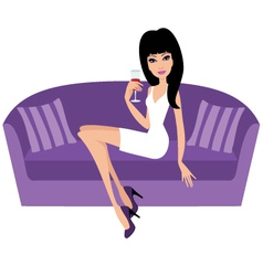 young woman with a wine glass sits on a sofa vector image