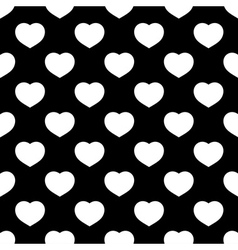 White hearts seamless pattern on black background vector