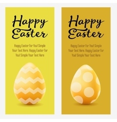 Happy easter greeting post card with colored eggs vector