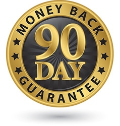 90 day money back guarantee golden sign vector