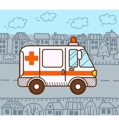 Ambulance car in the city vector