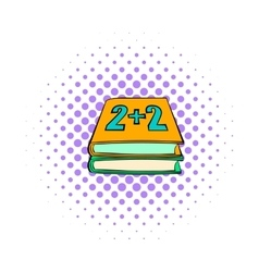 Two school textbook icon comics style vector