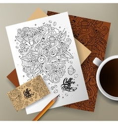 Cartoon cute doodles coffee corporate vector