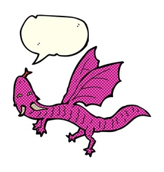 cartoon little dragon with speech bubble vector image