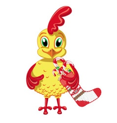 Cheerful cockerel with christmas sweets vector
