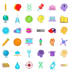 Creative puzzle icons set cartoon style vector