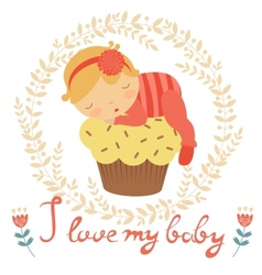 Cute baby card vector image vector image