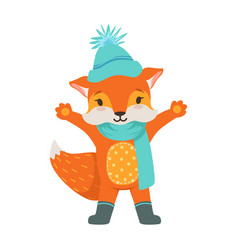 Cute orange fox character wearing in a light blue vector