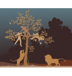 Escaping from lions vector image vector image