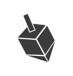 Flat icon in black and white style dreidel vector