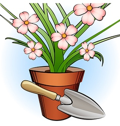 Garden shovel and window plant vector