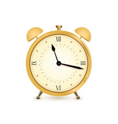 Gold alarm clock vector