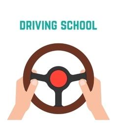 hand holding steering wheel vector image vector image