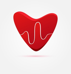 heart beat in red heart - medical icon vector image