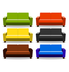 interior with realistic set sofa lounge settee vector image vector image