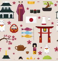 Japan famouse culture architecture buildings and vector