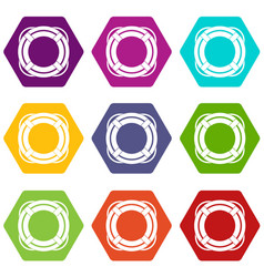 lifebuoy icon set color hexahedron vector image