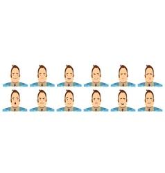Male Emotions Avatars Set Cartoon Style vector image