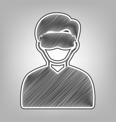 Man with sleeping mask sign pencil sketch vector