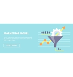 Marketing model horizontal banner with sales vector