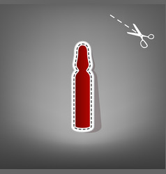Medical ampoule sign red icon with for vector