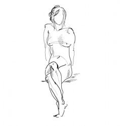 Naked sitting model drawing vector
