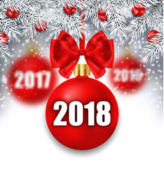 New year glowing background with christmas balls vector